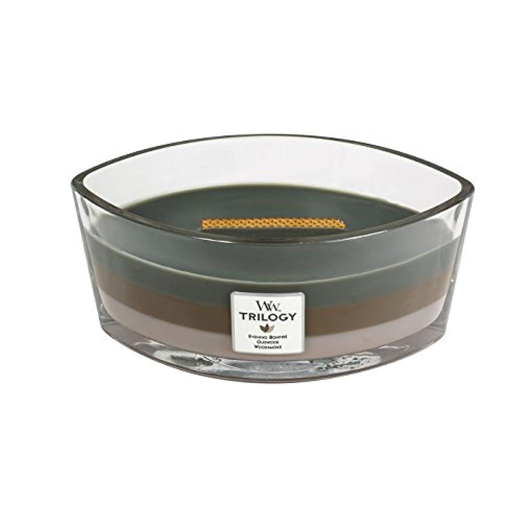 ステージ上院ライフルWoodWick Trilogy cosy CABIN, 3-in-1 Highly Scented Candle, Ellipse Glass Jar with Original HearthWick Flame, Large...
