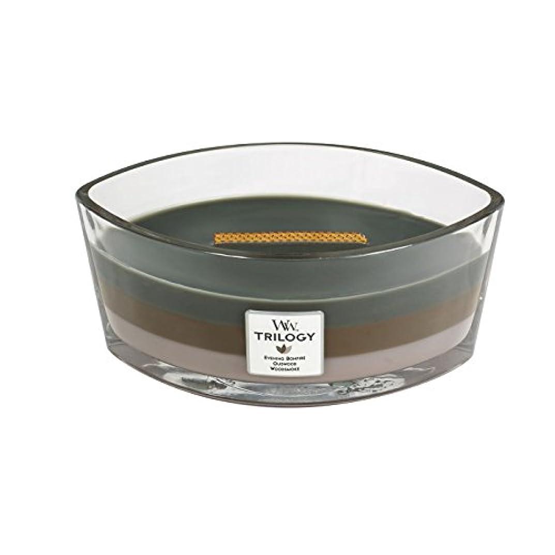 誕生日にやにや部屋を掃除するWoodWick Trilogy cosy CABIN, 3-in-1 Highly Scented Candle, Ellipse Glass Jar with Original HearthWick Flame, Large...
