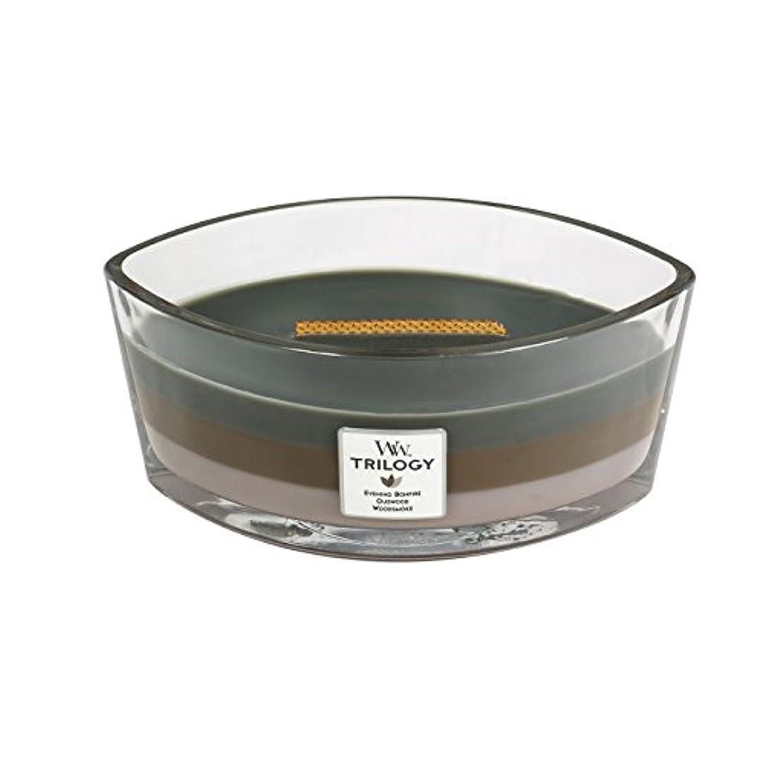 士気スナップ真剣にWoodWick Trilogy cosy CABIN, 3-in-1 Highly Scented Candle, Ellipse Glass Jar with Original HearthWick Flame, Large...