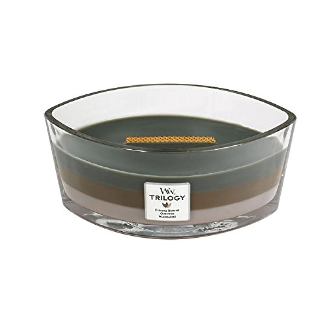 弾力性のある退屈経験WoodWick Trilogy cosy CABIN, 3-in-1 Highly Scented Candle, Ellipse Glass Jar with Original HearthWick Flame, Large...