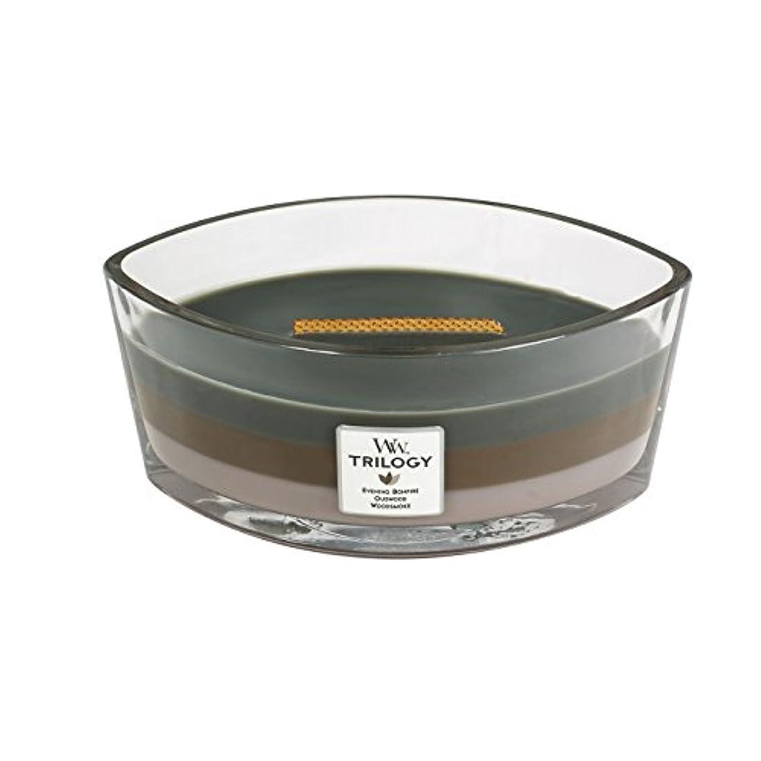 首尾一貫した事香ばしいWoodWick Trilogy cosy CABIN, 3-in-1 Highly Scented Candle, Ellipse Glass Jar with Original HearthWick Flame, Large...