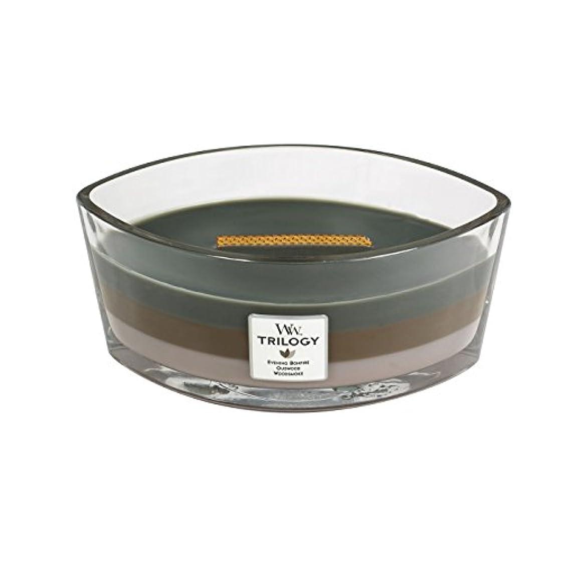 アグネスグレイスローガン前者WoodWick Trilogy cosy CABIN, 3-in-1 Highly Scented Candle, Ellipse Glass Jar with Original HearthWick Flame, Large...