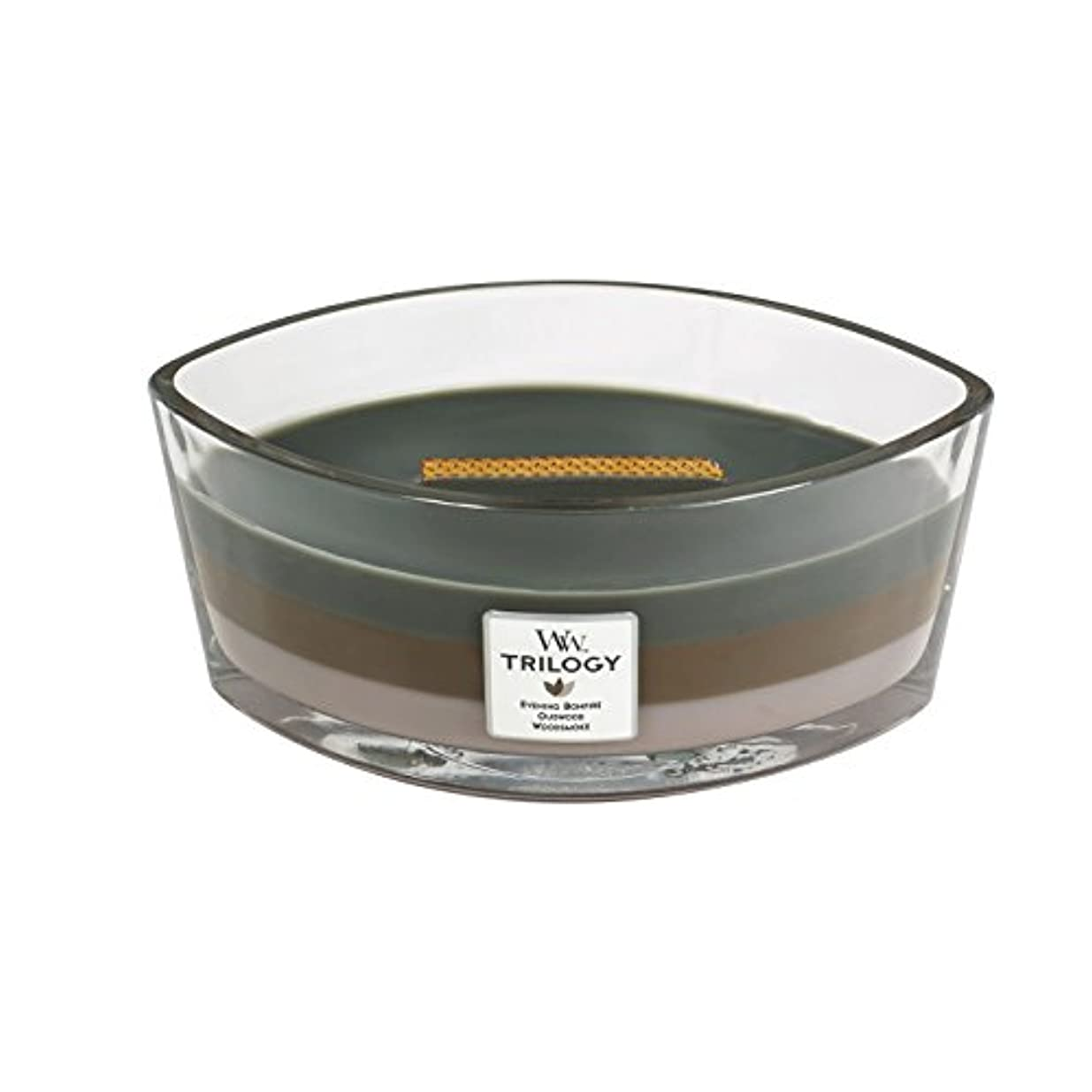 破壊的食欲付けるWoodWick Trilogy cosy CABIN, 3-in-1 Highly Scented Candle, Ellipse Glass Jar with Original HearthWick Flame, Large...