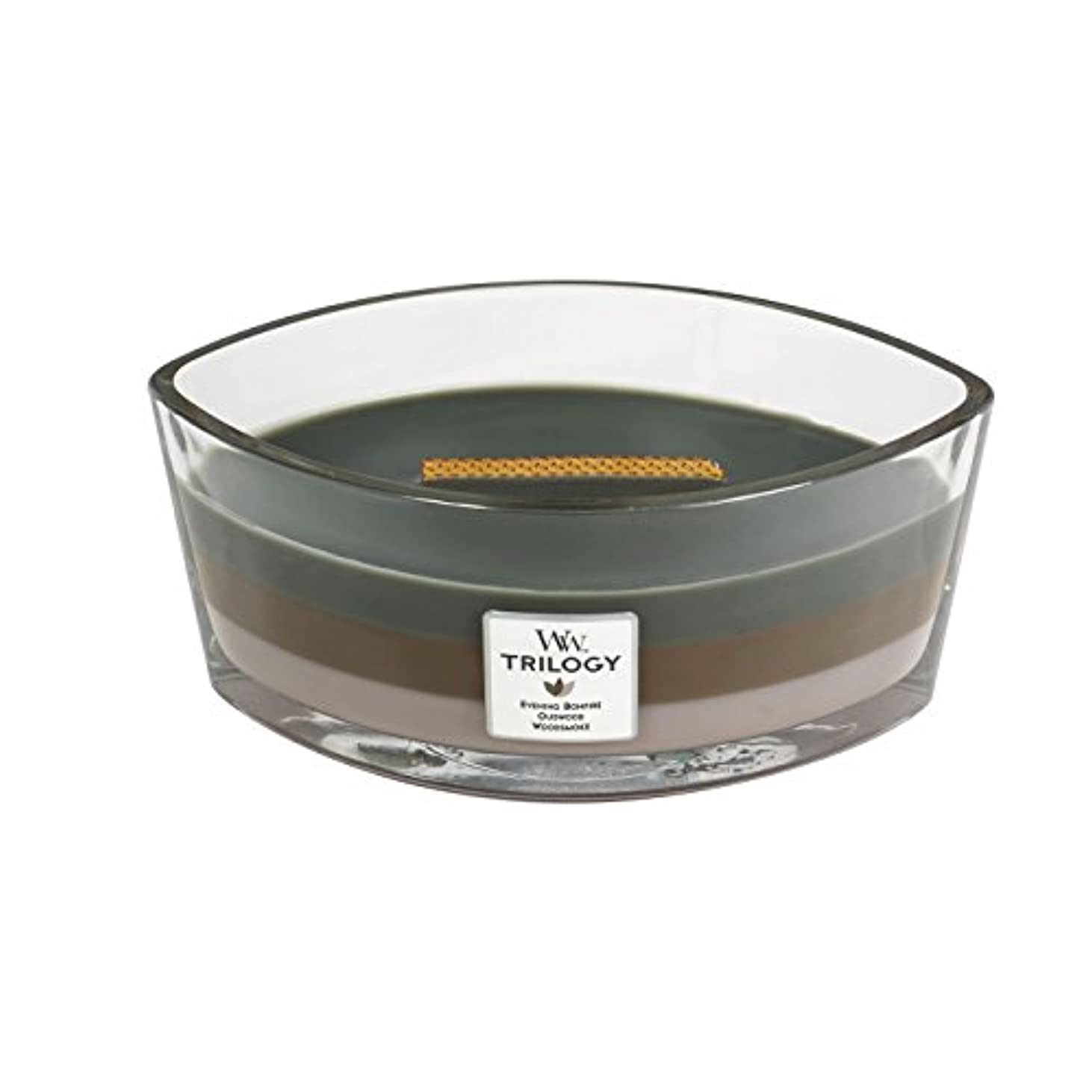 WoodWick Trilogy cosy CABIN, 3-in-1 Highly Scented Candle, Ellipse Glass Jar with Original HearthWick Flame, Large...