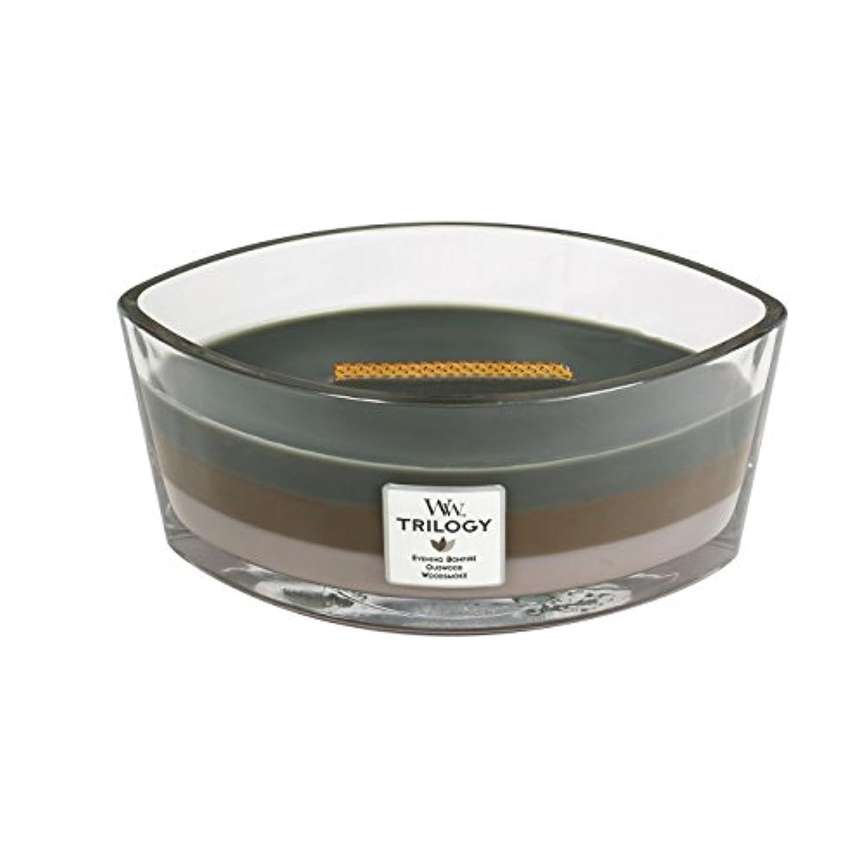 農学民主党シェアWoodWick Trilogy cosy CABIN, 3-in-1 Highly Scented Candle, Ellipse Glass Jar with Original HearthWick Flame, Large...
