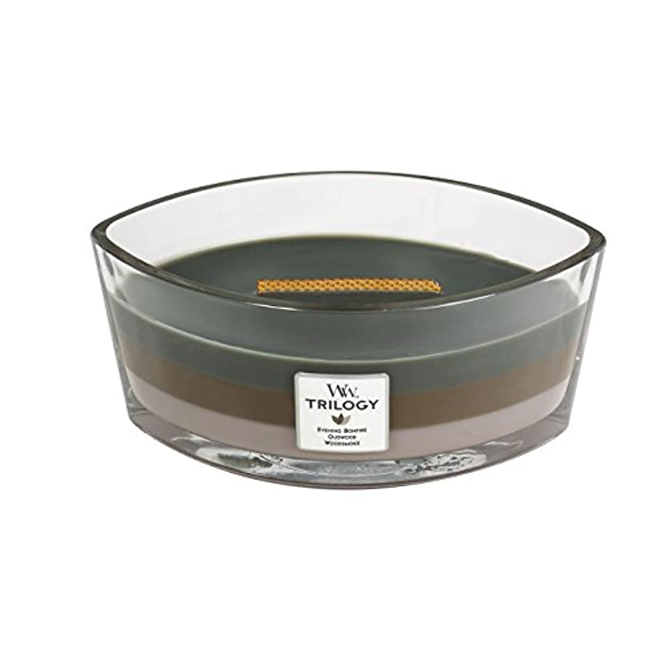 専門有毒な統計的WoodWick Trilogy cosy CABIN, 3-in-1 Highly Scented Candle, Ellipse Glass Jar with Original HearthWick Flame, Large...