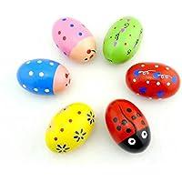 幼児期のゲーム かわいいウッド色の砂の卵の子供のおもちゃの音楽教師援助(ランダムな色)