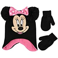 Disney Girls' Toddler Minnie Mouse Character Hat and Mittens Cold Weather Set, Black/Pink, Age 2-4