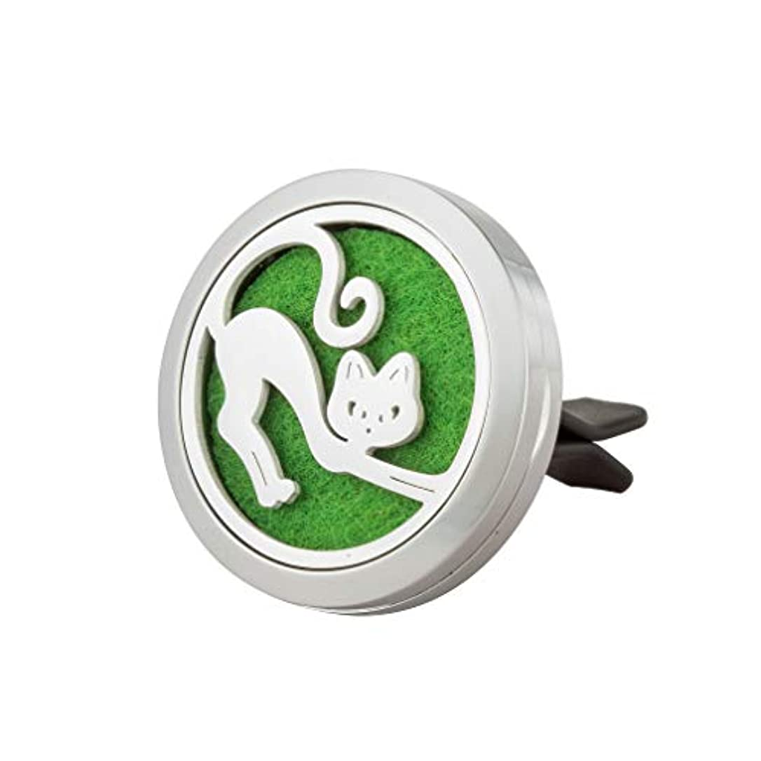 ゆるくフリルわずらわしいかわいい猫アロマセラピー車Essential Oil DiffuserネックレスステンレススチールVentロケットジュエリークリップギフトセットby Jaoyu シルバー