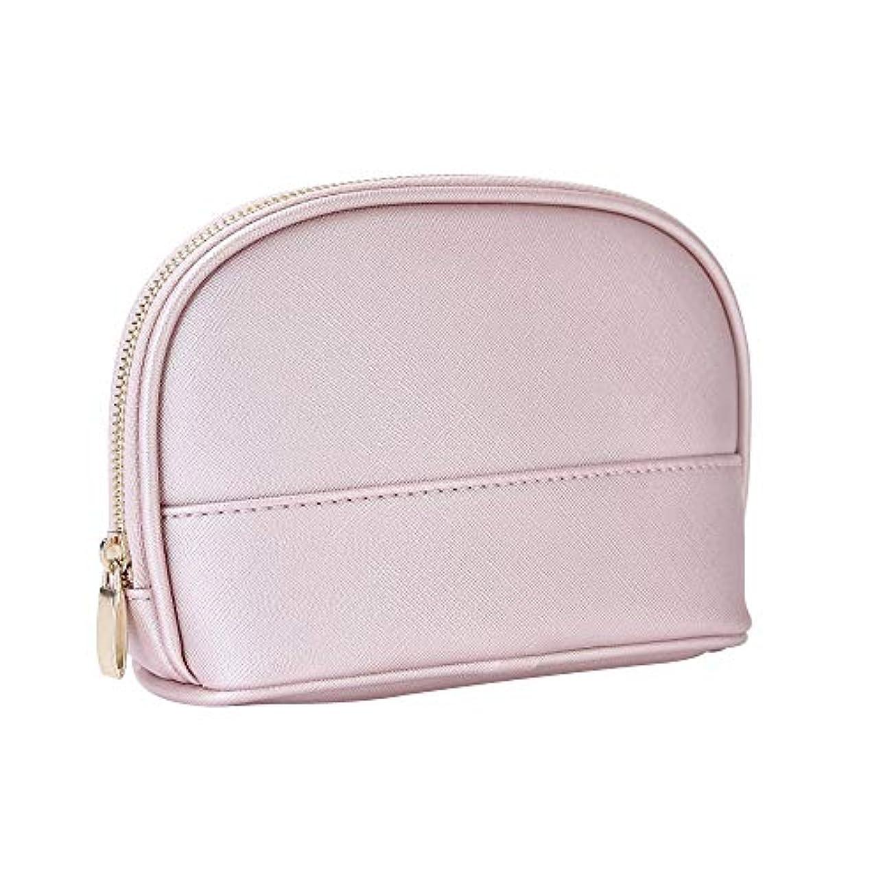 硬化するドローベールXiazw ピンク PUレザー 防水 化粧ポーチ メイクポーチ バッグ 化粧品収納 小物入れ 出張 旅行用