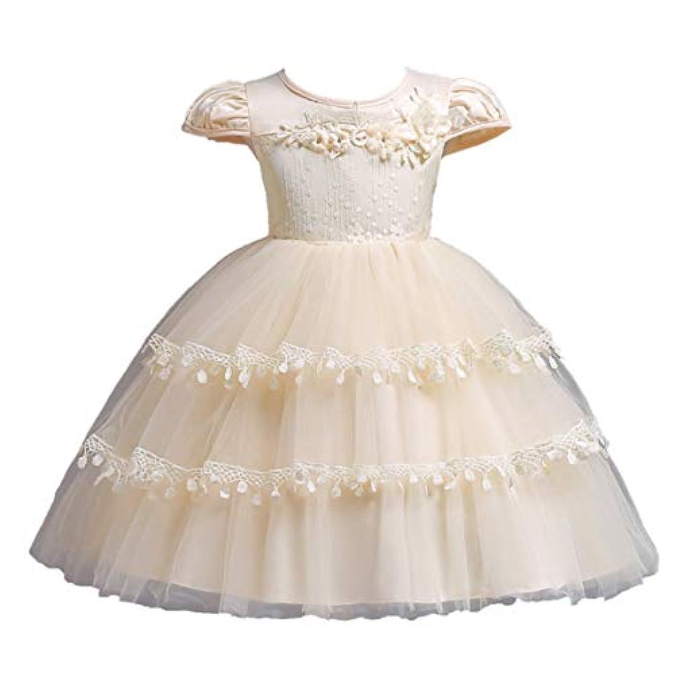 きしむ女性クールシャンパンの赤ちゃんの女の子の花刺繍ケーキバブルスカート子供半袖ワンピースパーティードレス-シャンパン-120 cm