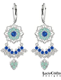 Incredible Chandelier Earrings Designed by Lucia Costin with 8 Petal Flowers, Leaves and Cute Charm, Crafted with...
