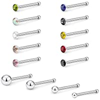 Lcolyoli 14 Pcs 18G Stainless Steel Nose Rings Bone Screw L Shaped Stud Rings Piercing Jewelry Colored CZ Inlaid 1.5-3mm