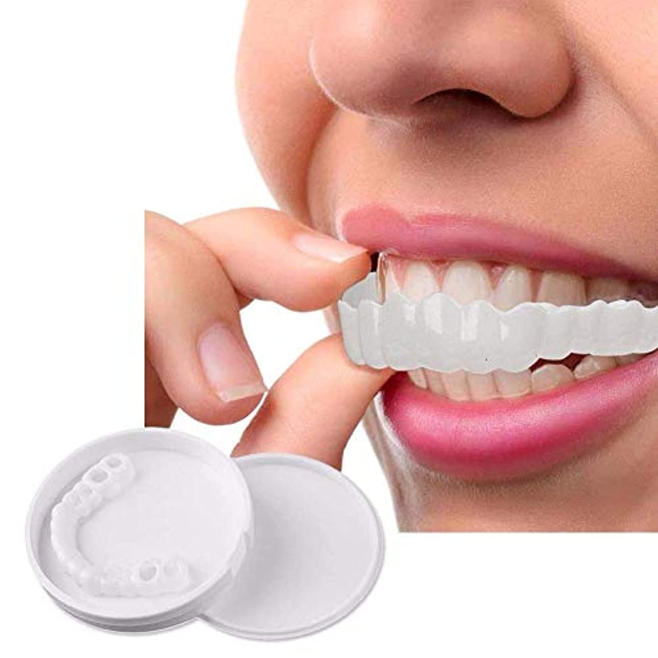 こどもセンター受益者制限する10ピースホワイトニングスナップオンスマイルパーフェクトスマイルフィット最も快適な義歯ケア入れ歯歯科カバーでボックス,Upperteeth10Pcs