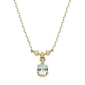 [VAヴァンドーム青山] VA VENDOME AOYAMA K10YG アクアマリン ダイヤモンド 0.01ct パレスプリング ネックレス GJVN034540AQ