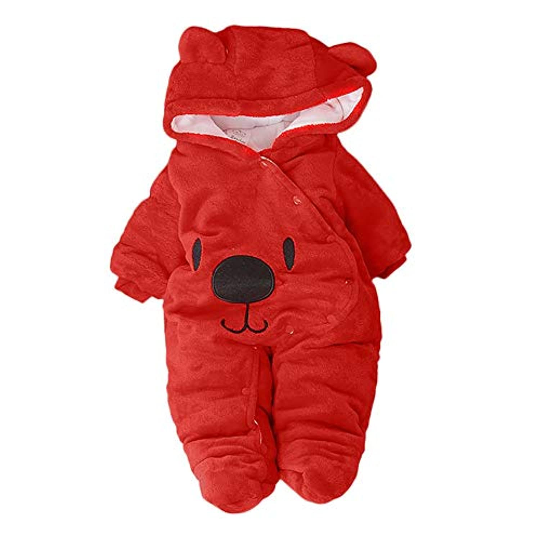 ベビー服 長袖 裏起毛 防寒 ふわふわ 暖かい ベア肥厚プラスベルベットフード付きジャンプスーツ 満月/出産祝い/プレゼント DAISUKI