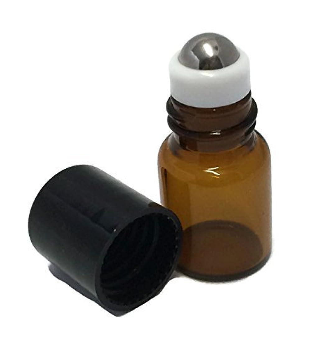 嵐の分子ピボットUSA 144 Amber Glass 2 ml, 5/8 Dram Mini Roll-On Glass Bottles with Stainless Steel Roller Balls - Refillable Aromatherapy...
