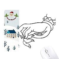 仏教の手目の線描画パターン サンタクロース家屋ゴムのマウスパッド