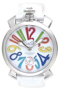 [ガガミラノ]GaGa MILANO 腕時計 マニュアーレ48mm ホワイト文字盤  カーフ革ベルト 手巻き スイス製 5010.01S-WHT メンズ 【並行輸入品】