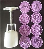 9個 3D ダッフルズ バラの花 ムーンケーキ型 ラウンドケーキプランジャーセット 50g キッチン耐熱皿 ハンドプレス ケーキ型 フェスティバル 手圧 ムーンケーキ型 切手 クッキーカッター ペストリー ベーキングデコレーションツール