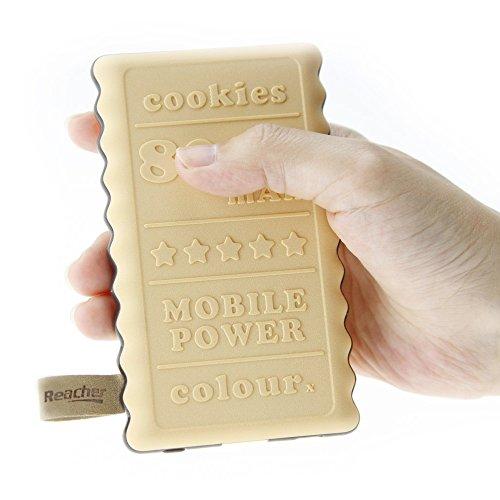 Reacher クッキー型 8000mAh モバイルバッテリー 大容量 USB充電 薄型 軽量 ポータブル コンパクト 可愛い iPhone&Android対応 クリーム色