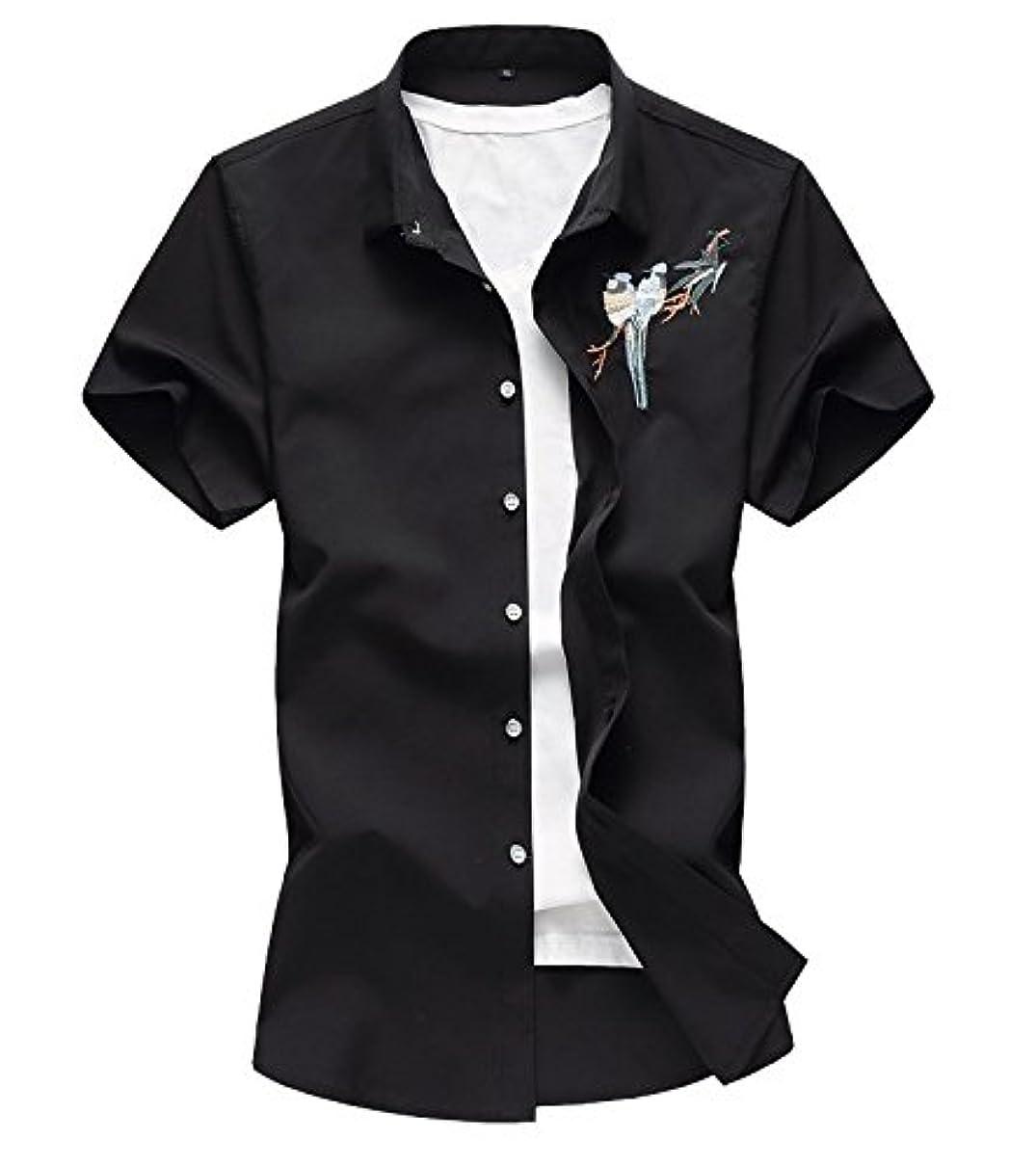 荒らすペルー家畜PP&DD T-シャツ 半袖 メンズ ハワイ風 綿麻 サーフ おしゃれ ゆったり 爽やか カジュアル 通気速乾 リゾート風  鳥刺繍 4色 大きいサイズあり