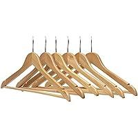 PARACHASE 木製ハンガー セット スラックス用バー付 ナチュラル色 20本組
