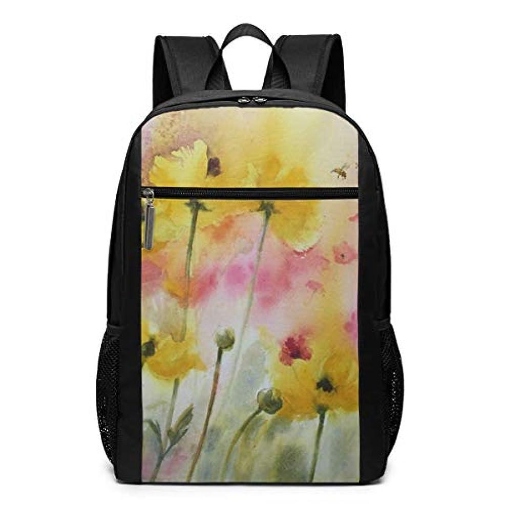 安いですの前でズボンMy Life リュックサック 水彩の菊の花 メンズ バックパック リ ュック デイパック 大 おしゃれ 出張/旅行/通勤/アウトドアに適用 大容量 多機能 人気 学生 高校生 (17インチ)