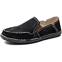 JAMONWU Mens Canvas Shoes Classic Slip on Deck Shoes Boat Shoes Non Slip Casual Loafer Flat Outdoor Sneakers