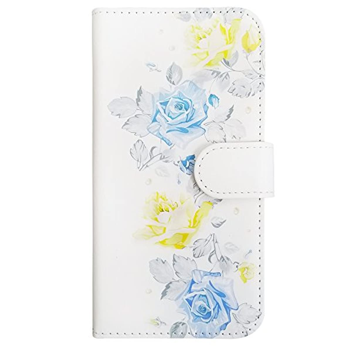 パワーセル数字ミケランジェロsslink iPhone XS Max 手帳型 スマホ ケース おしゃれな花柄デザイン (イエロー×ブルー) バラ ローズ ローズ 水彩風 パステル レトロ ダイアリータイプ 横開き カード収納 フリップ カバー スマートフォン
