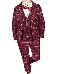 (チェリーレッド) CherryRed 男の子 チェック柄 フォーマルスーツ ジャケット+ベスト+ズボン+蝶ネクタイ 4点セット