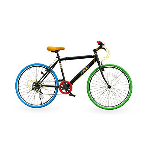 Airbike クロスバイク 自転車 26インチタイヤ シマノ7段変速 (ブラック×ポップ)
