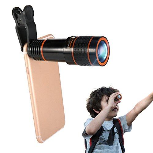 12Xズーム スマホ用カメラレンズ 高性能単眼望遠鏡 クリップ式望遠鏡 高画質 遠距離撮影3m~1200m 16°広い視角 簡単装着 ピント調整可能 携帯レンズ iPhone/Android多機種対応 (ブラック)