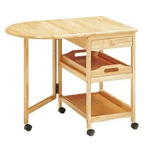 koeki 木製テーブル付きワゴン ナチュラル KW-415(NA)