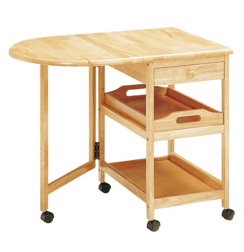 koeki 木製テーブル付きワゴン ナチュラル