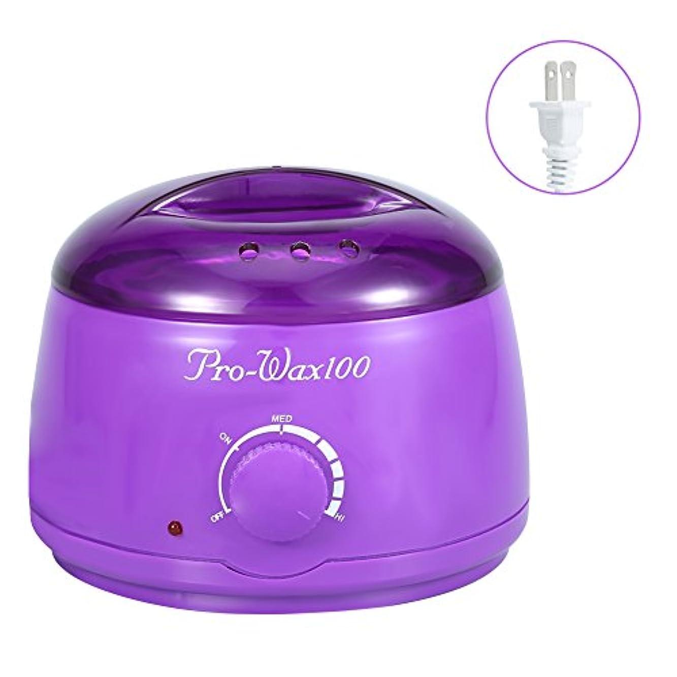 はねかけるミュート直立ワックス脱毛ワックスヒーター+ 4 x 100g異なるワックス豆+ 10個ワックススティックプロフェッショナルワックス脱毛セット(紫色)