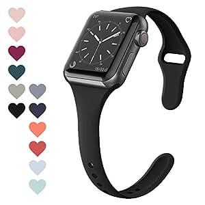 FRESHCLOUD コンパチブル Apple Watch バンド 38mm 40mm アップルウォッチ バンドスポーツバンド 交換ベルト 柔らかいシリコン素材 apple watch series 5 4 3 2 1対応 耐衝撃 防汗 (ブラック)
