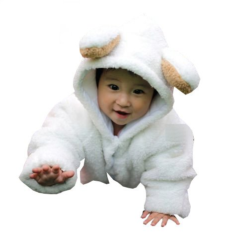【ノーブランド】もこもこ! ラブリー ベビー カバーオール アニマル ロンパース 新生児 ~ 6ヶ月 70cm 赤ちゃん 動物 着ぐるみ くま うさぎ ひつじ (ひつじ)