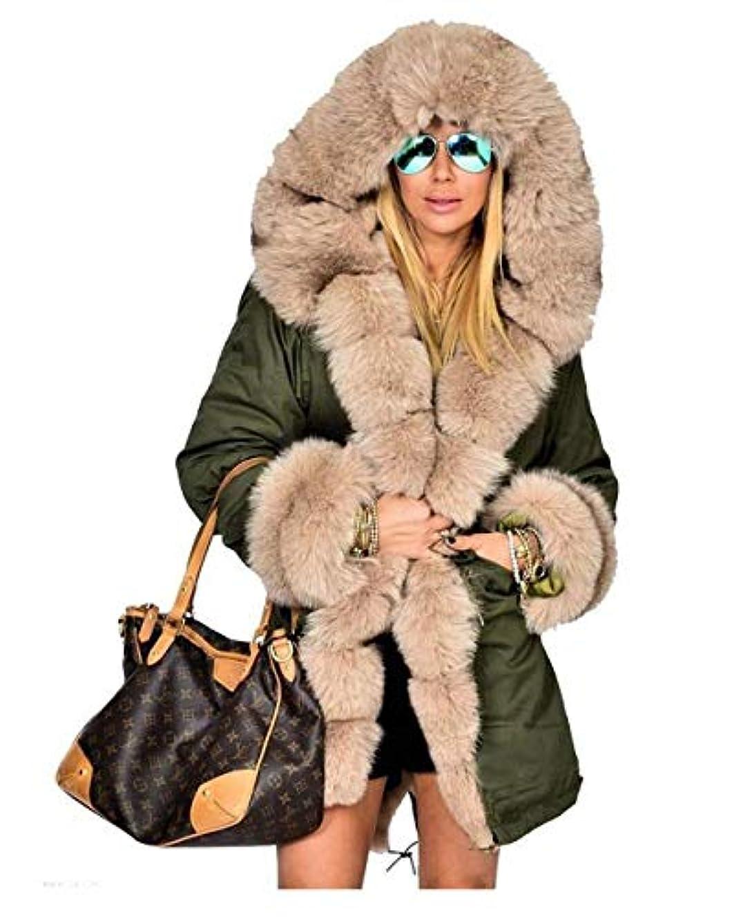 圧倒的ナインへヒール女性ウィンターコートファーフード付きジャケット女性ロングコットンカジュアルコートレディースウォームウィンターパーカー女性オーバーコート,S