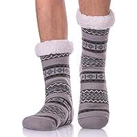 LANLEO Men's Fuzzy Ripple Slipper Socks Super Soft Warm Fleece Lining Knit Non Slip Winter Socks