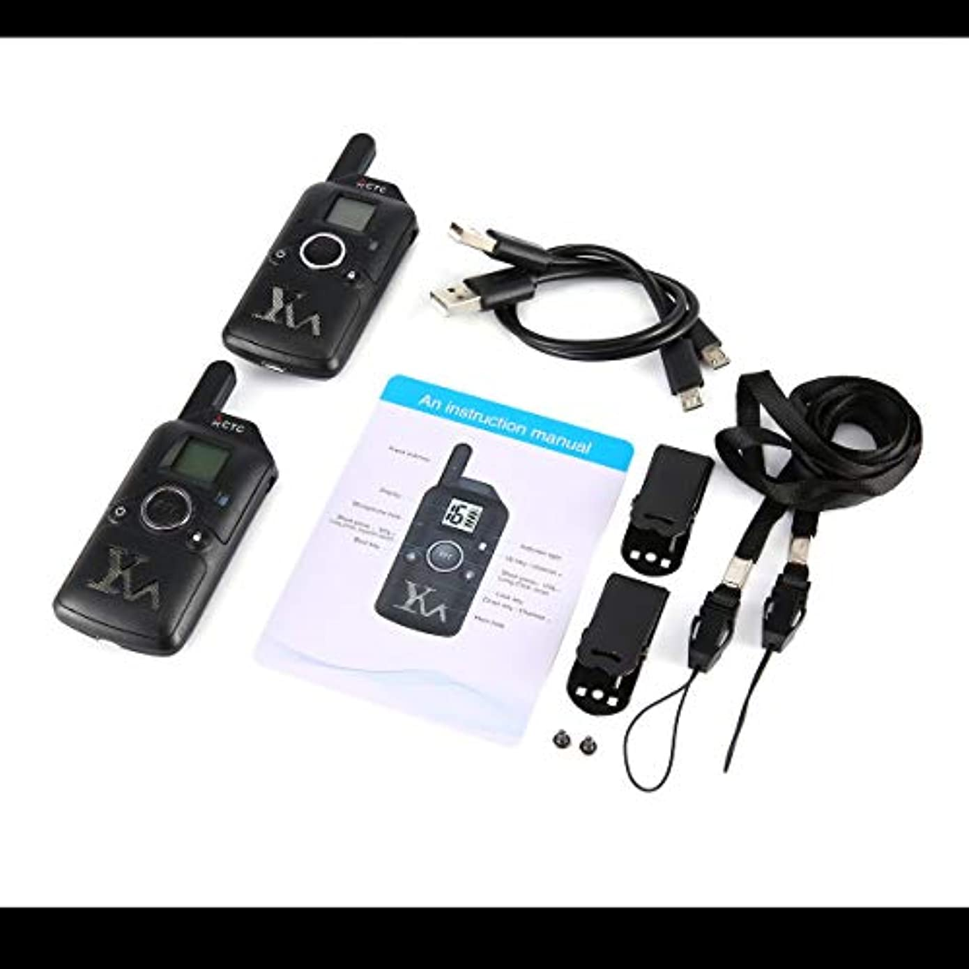 はいアシスタント合理的2個のミニトランシーバーキッズ子供ラジオ400-480Mhz無料周波数トランシーバーインターホンUSB充電式-ブラック