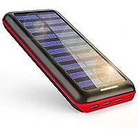 モバイルバッテリー ソーラーチャージャー 24000mAh ソーラー充電器 大容量 電源充電可能 急速充電 2USB入力ポート(2.1A+2.1A) 3USB出力ポート(2.4A+2.4A+2.4A) 災害/旅行/アウトドアに大活躍(赤)