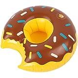 Geraffely うきわ 浮き輪 フロート ドリンクホルダー カップホルダー トレー ドーナツ 可愛い 携帯 ミニサイズ 飲み物置き ブラウン