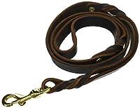 """ディーン&タイラー・""""ブレイディ・バンチ"""" :高級革製犬用リーシュ:ブラウン:2重ハンドル :真鍮製ハードウェア:約122cm 幅約2cm:毎日のご利用に最適です。ブラックもあります。ヨーロッパ製"""