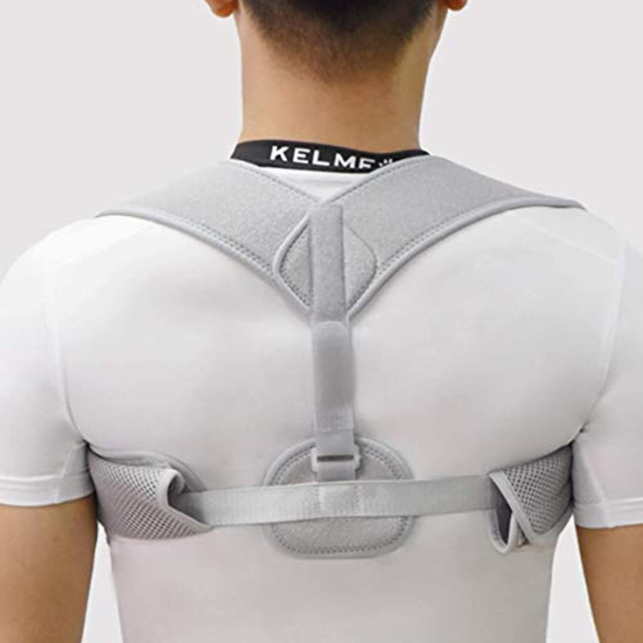 寺院見る人ご注意新しいアッパーバックポスチャーコレクター姿勢鎖骨サポートコレクターバックストレート肩ブレースストラップコレクター耐久性 - グレー