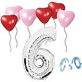 誕生日パーティー ハート型風船  飾り付け シルバー 数字(6) 天然ゴム 風船セット(x1-x06)