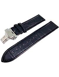 Mutt(ムト) プッシュ 式 D バックル 腕時計 本革 ベルト レザー ストラップ 観音開き (18, ブラック)