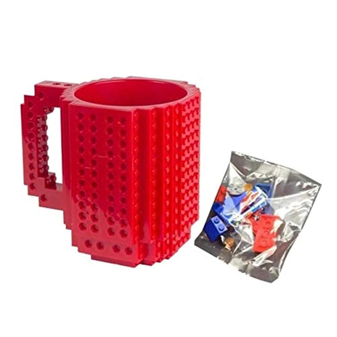 農村打ち上げる無人Saikogoods レンガマグカップDIY?ビルディング?ブロックのコーヒーカップを構築 赤