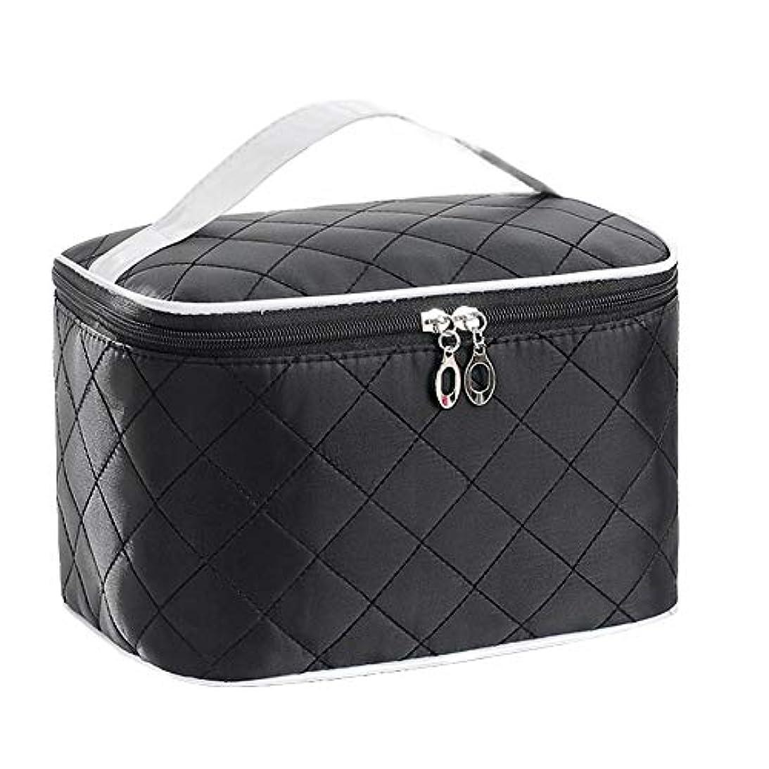 特大スペース収納ビューティーボックス 女の子の女性旅行のための新しく、実用的な携帯用化粧箱およびロックおよび皿が付いている毎日の貯蔵 化粧品化粧台 (色 : ブラック)