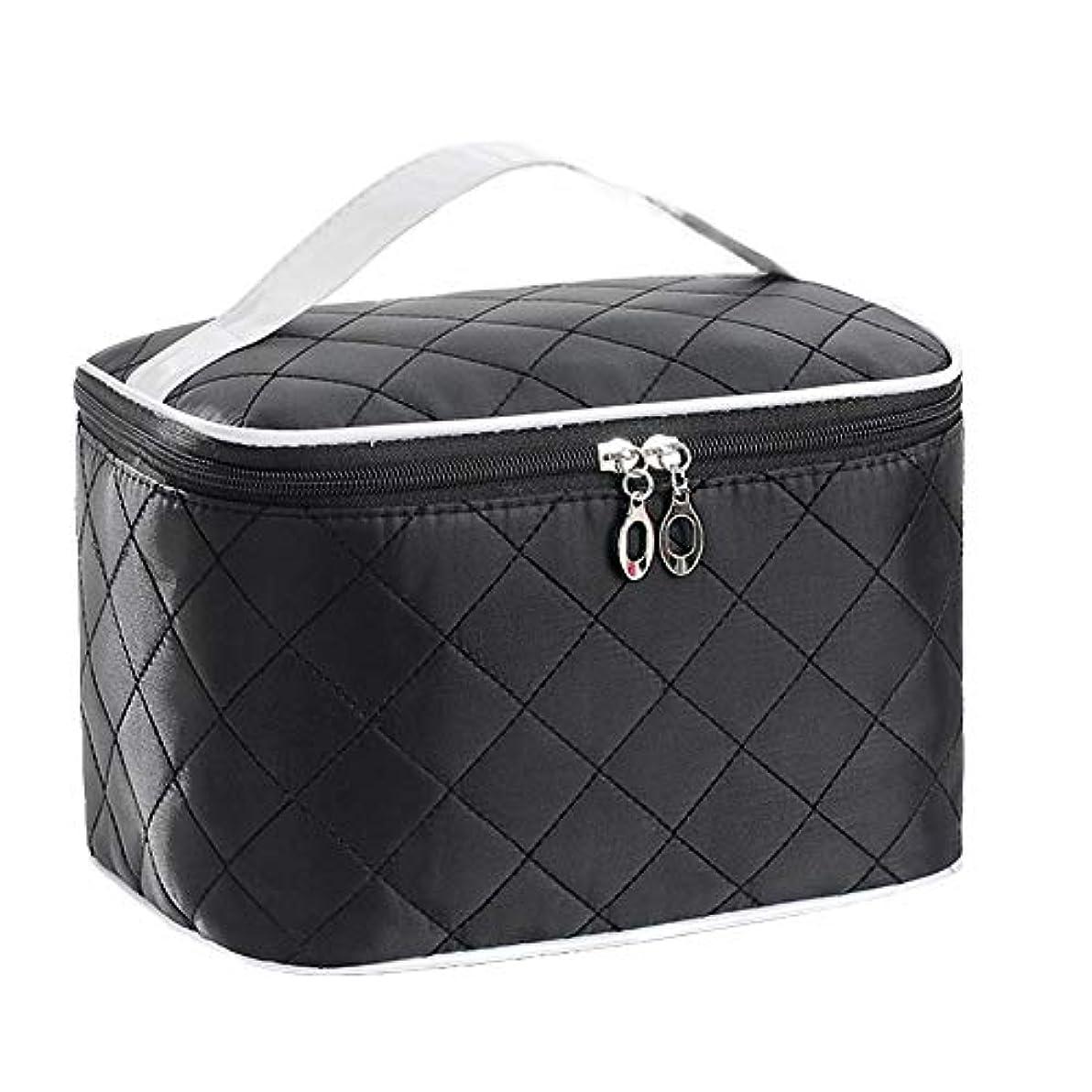 すべてスマイル光特大スペース収納ビューティーボックス 女の子の女性旅行のための新しく、実用的な携帯用化粧箱およびロックおよび皿が付いている毎日の貯蔵 化粧品化粧台 (色 : ブラック)